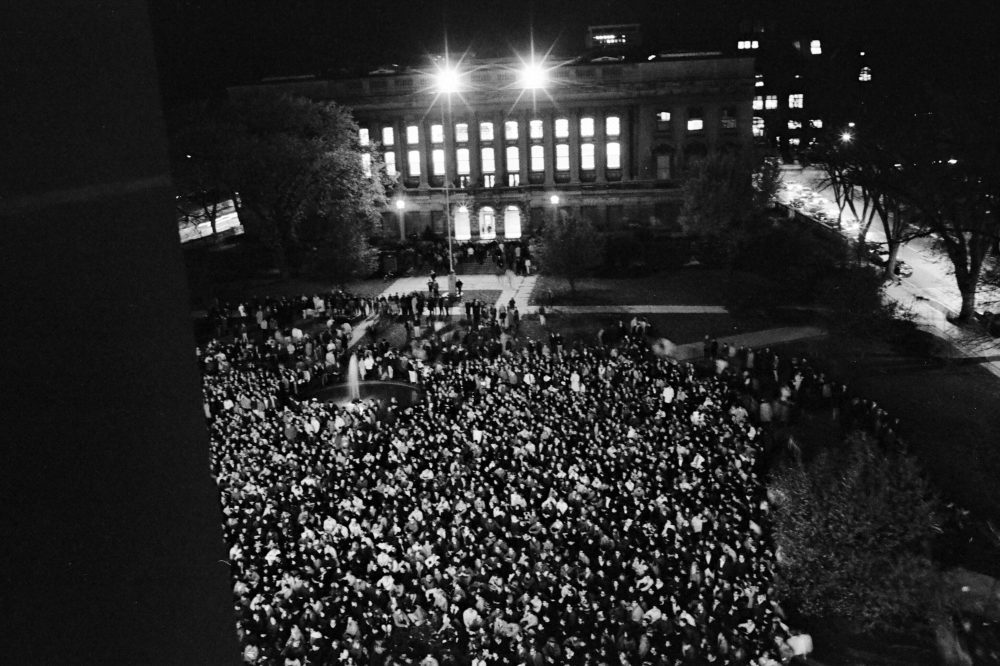 On the evening of the Dow protest, thousands of students regrouped on Library Mall and decided to boycott classes the next day to show their disgust at what they considered police brutality. The prominent building in the background houses the Wisconsin Historical Society.