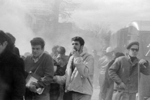 A shroud of tear gas envelops students and antiwar protesters on the UW–Madison campus on Oct. 18, 1967.
