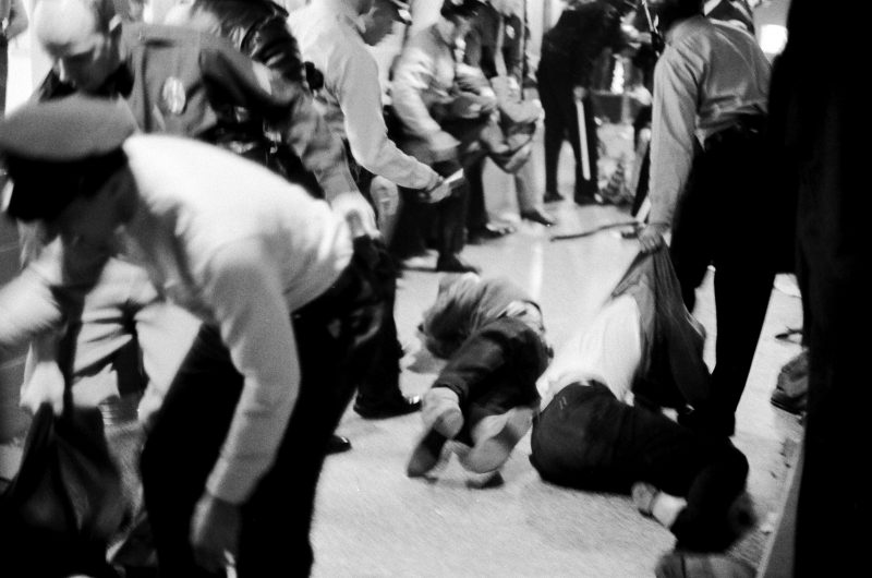 Police officers forcibly try to remove student protesters from a corridor of the Commerce Building on the UW-Madison campus on Oct. 18, 1967.