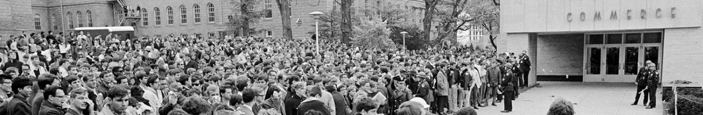 Student demonstrators amass outside the Commerce Building on the UW–Madison campus during a protest of campus recruiting efforts by the Dow Chemical Company on Oct. 18, 1967.